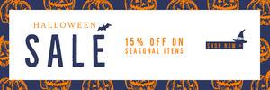 Orange and Navy Halloween Sale Ad Banner Ads Banner