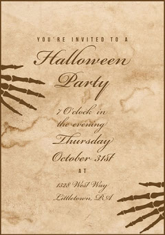 Beige Old Bones Halloween Party Invitation Holiday Party Flyer