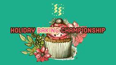 Green Holiday Baking Championship Youtube Thumbnail with Cupcake Cooking