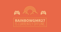 Orange Illustrated Twitch Banner with Rainbow and Controllers Rainbow