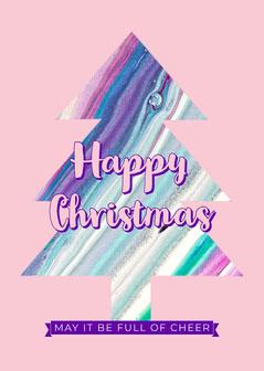 Pink Purple Christmas Tree Card Purple