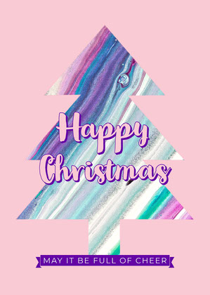 Pink Purple Christmas Tree Card Christmas Card