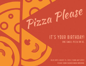 Orange Pizza Restaurant Birthday Coupon Bon