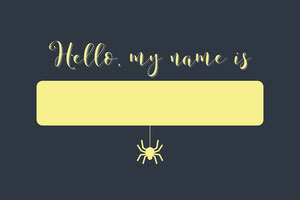 Black and Yellow Pumpkin Scare Halloween Party Name Tag Nimikortti