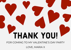 Red Hearts Valentine's Day Thank You Card Valentine's Day