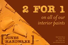 Orange Hardware Promo 2 For 1 Postcard Promotion