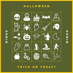 Green Haunted House Halloween Party Bingo Card Halloween Party Bingo Card