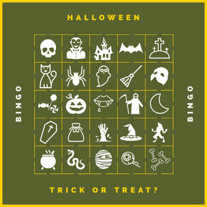 Green Haunted House Halloween Party Bingo Card Cartazes de jogos