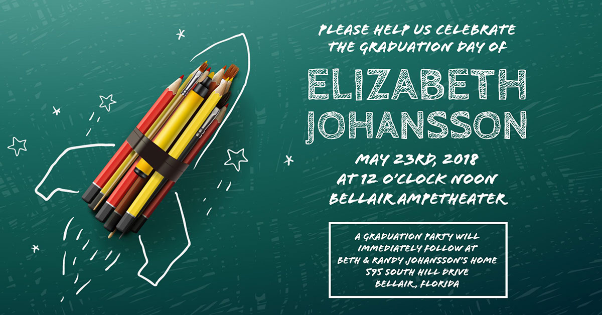 Elizabeth Johansson  Elizabeth Johansson  May 23rd, 2018  at 12 o'clock noon  Bellair Ampetheater  A graduation party will  immediately follow at  Beth & Randy Johansson's home  595 South Hill Drive  Bellair, Florida Please help us celebrate the graduation day of