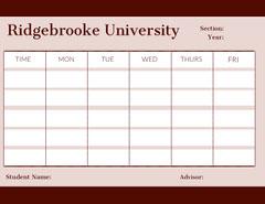 Pink University Weekly Schedule College