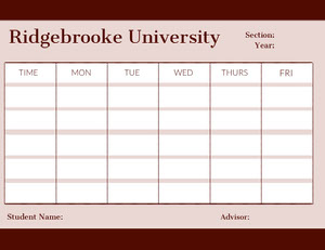 Pink University Weekly Schedule Weekly Calendar