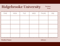 Ridgebrooke University  College Schedule