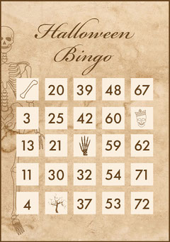 Beige and White Old Bones Halloween Party Bingo Card Halloween Party Bingo Card