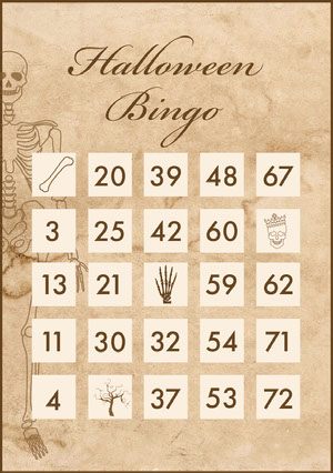 Old Bones Halloween Party Bingo Card Bingokort