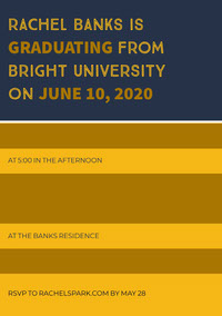 RACHEL BANKS IS<BR>GRADUATING FROM <BR>BRIGHT UNIVERSITY <BR>ON JUNE 10, 2020 Dimissionsinvitation