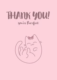 Pink Thank You Card with Cat Pun Cat