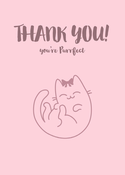 Pink Thank You Card with Cat Pun Funny Text Messages