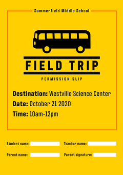 Yellow and Black Field Trip Permission Slip Flyer A5 Music Tour