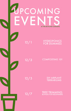 Pink Minimal Event Calendar  Garden