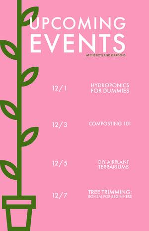 Pink Minimal Event Calendar  Eventplakat