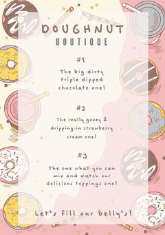 pink cream doughnut shop menu a5 Donut