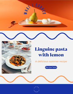 Orange and Blue Cooking Newsletter Cooking
