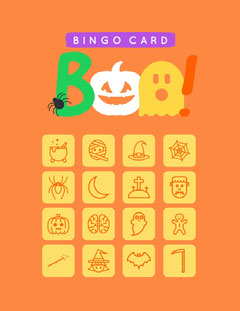 Orange and Yellow Boo Costume Halloween Party Bingo Card Halloween Party Bingo Card