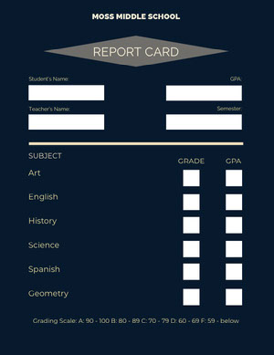 Black and White Empty Report Card Report Card
