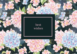 Pink and Blue Floral Best Wishes Postcard Vykort