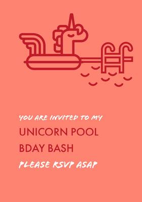 Red and Pink Birthday Invitation Birthday Invitation (Girl)