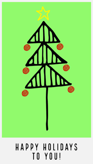Green Drawing Christmas Tree Gift Tag Gift Tag