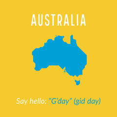 Bright Yellow and Blue Australian Slang Square Instagram Graphic Hello