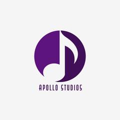 Purple Music Note in Circle Logo Music