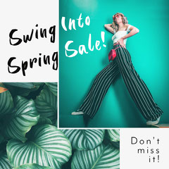 Teal and White Spring Sale Promo Instagram Square  Giveaway