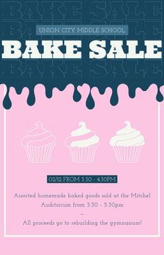 Pink and Blue School Bake Sale Event Flyer Cupcake