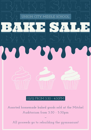 BAKE SALE Pink Flyers
