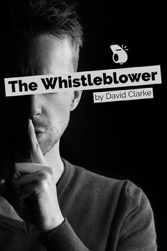 Black and White Whistleblower Book Cover with Man with Finger on Lips Political Flyer