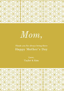 Gold Mothers Day Card with Geometric Pattern Mother's Day Card