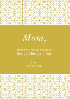 Gold Mothers Day Card with Geometric Pattern Gold