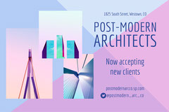 Pink and Blue Architecture Firm Postcard Architecture