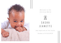 White and Baby Girl Portrait Baptism Announcement Invitación de bautizo