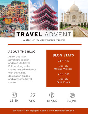 Red Travel Blog Media Kit with Collage Pressemappe