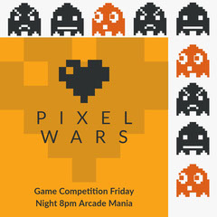 PIXEL WARS Game Night Flyer