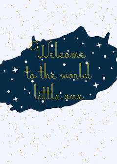 Grey Navy Welcome To The World Card Stars