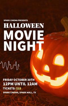 Orange and White, Spooky Halloween Movie Night Event Poster Movie Night Flyer