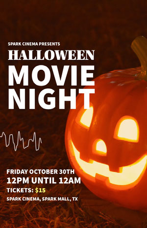 Orange and White, Spooky Halloween Movie Night Event Poster Filmposter
