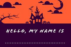 Purple and Orange Haunted House Halloween Party Blank Name Tag Halloween Party Name Tag
