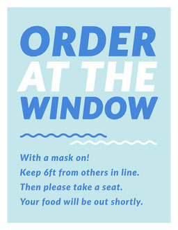Blue Fun Trendy Contactless Ordering Instructions Poster
