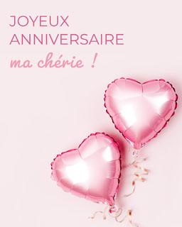 Light pink heart shaped balloons Happy Birthday Honey - card