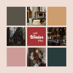 beige red green collage cosy winter vibes instagram square  Winter